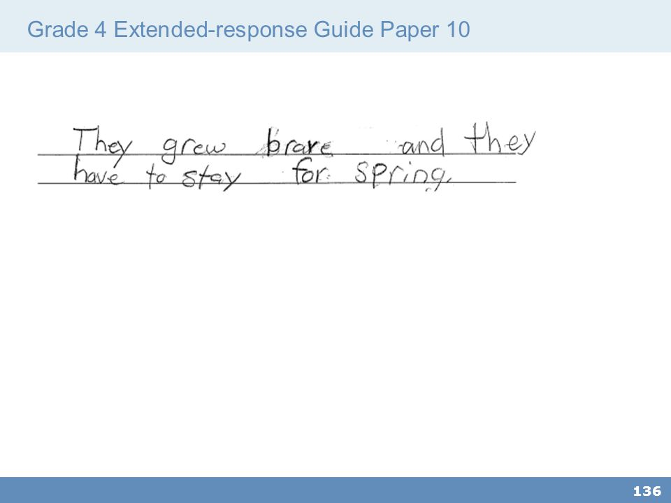 Grade 4 Extended-response Guide Paper 10