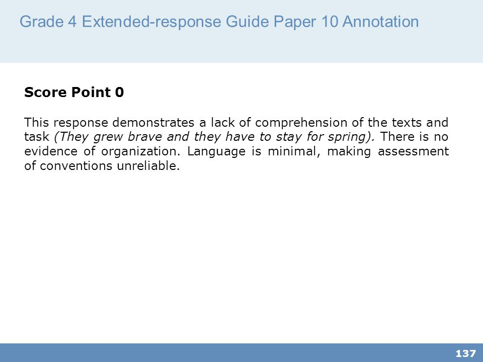 Grade 4 Extended-response Guide Paper 10 Annotation