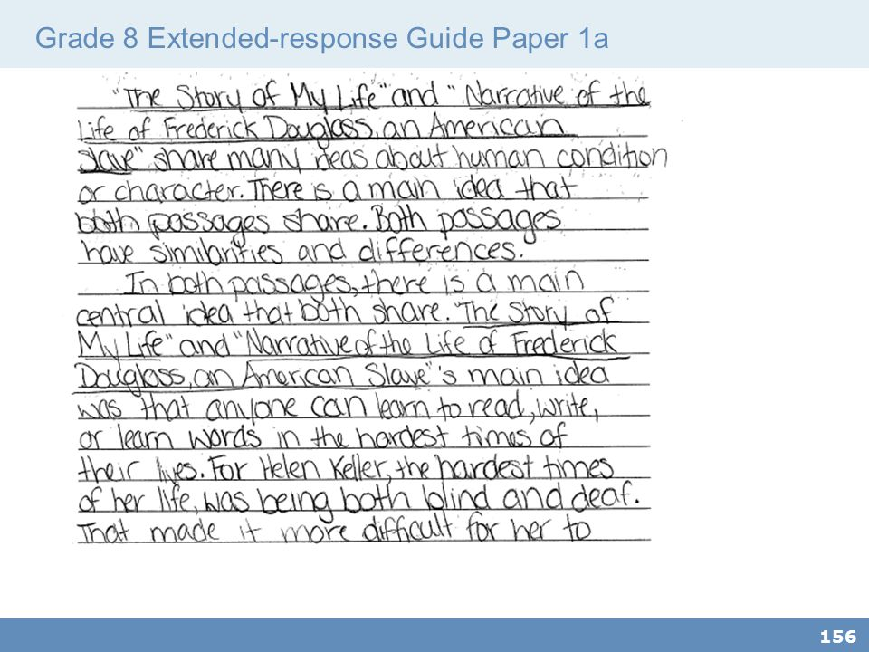 Grade 8 Extended-response Guide Paper 1a