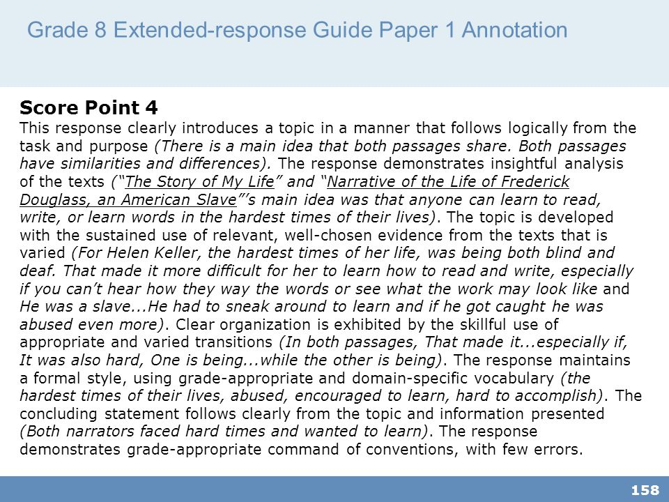 Grade 8 Extended-response Guide Paper 1 Annotation