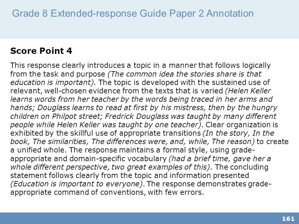 Grade 8 Extended-response Guide Paper 2 Annotation