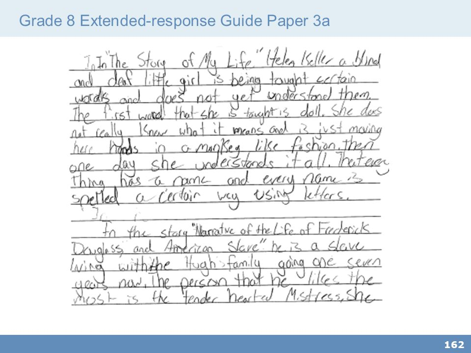 Grade 8 Extended-response Guide Paper 3a