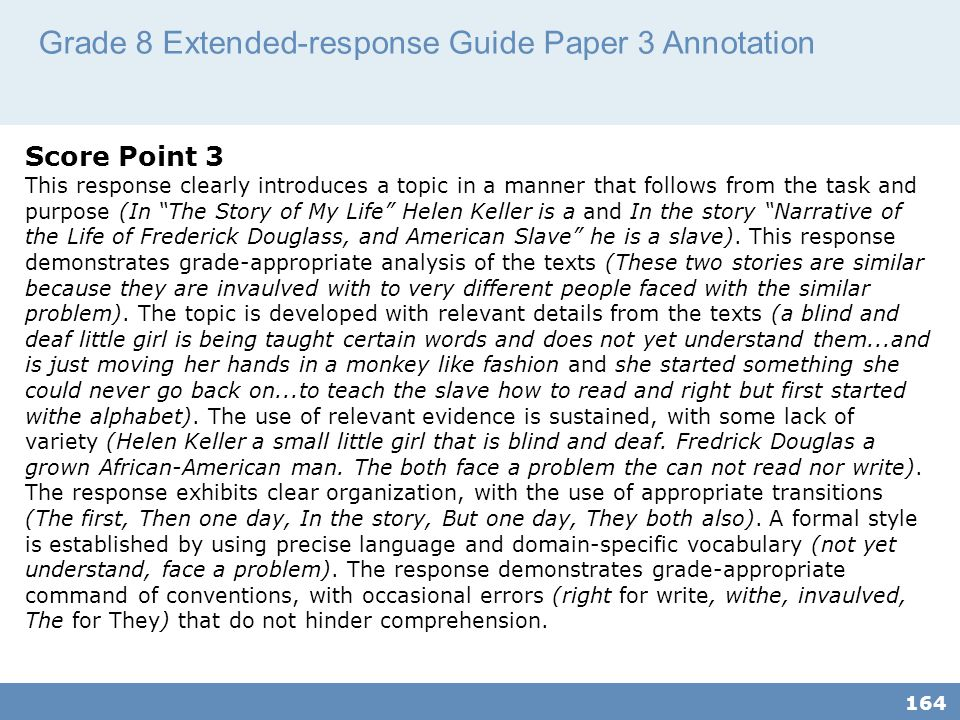 Grade 8 Extended-response Guide Paper 3 Annotation