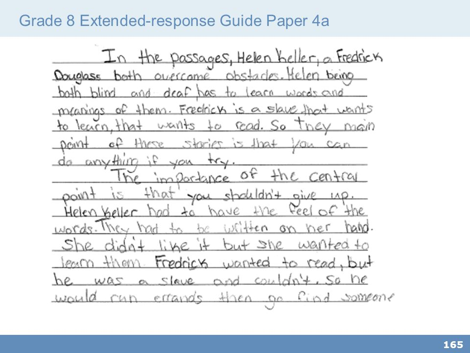Grade 8 Extended-response Guide Paper 4a