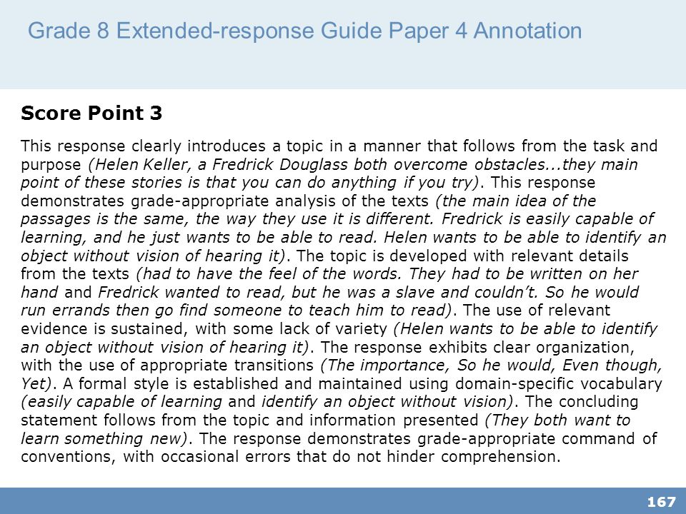 Grade 8 Extended-response Guide Paper 4 Annotation