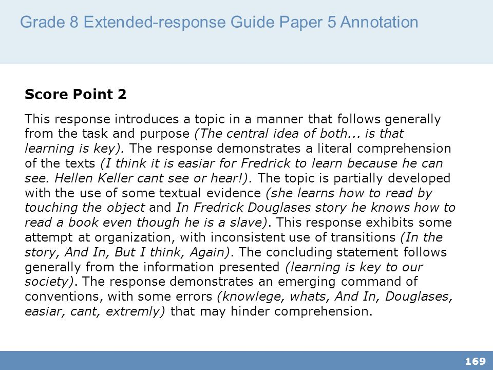 Grade 8 Extended-response Guide Paper 5 Annotation