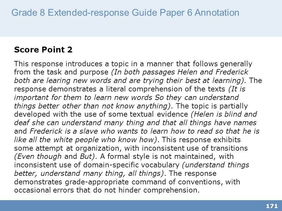 Grade 8 Extended-response Guide Paper 6 Annotation