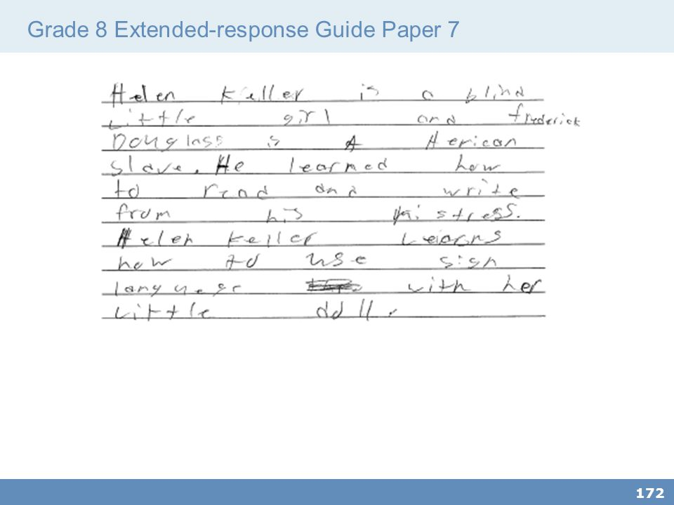 Grade 8 Extended-response Guide Paper 7