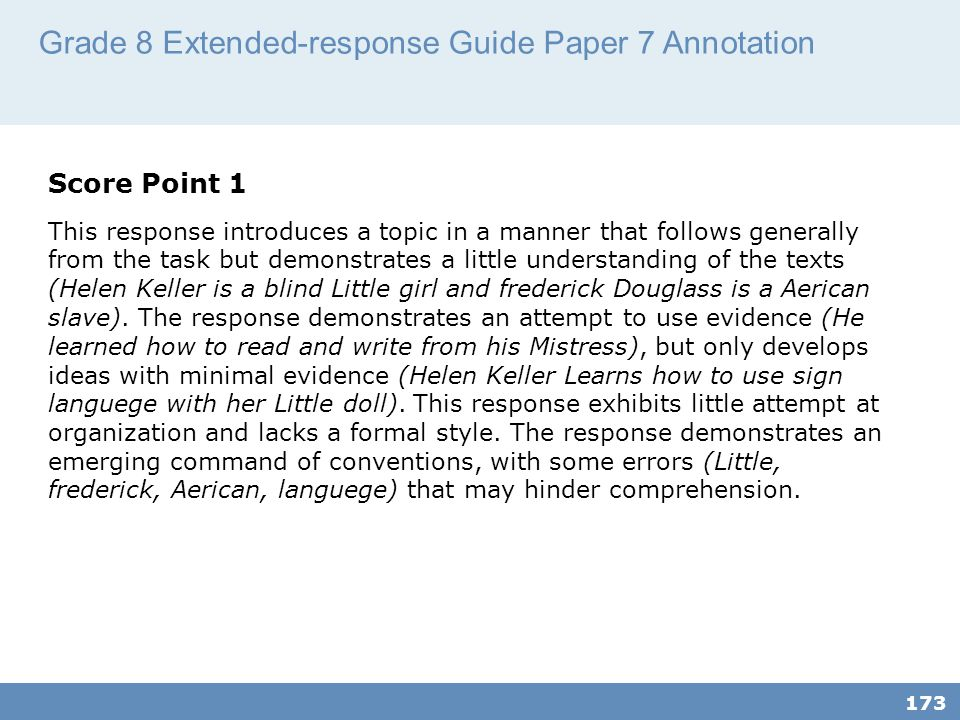 Grade 8 Extended-response Guide Paper 7 Annotation