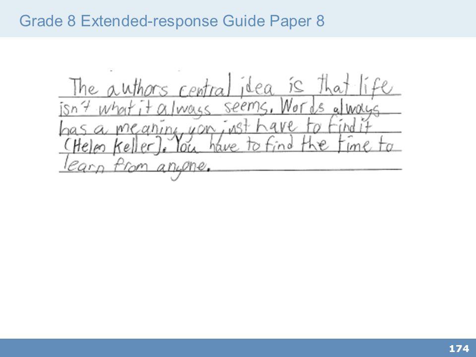 Grade 8 Extended-response Guide Paper 8