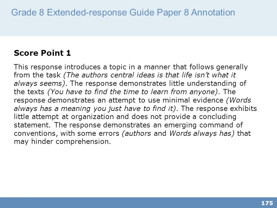 Grade 8 Extended-response Guide Paper 8 Annotation