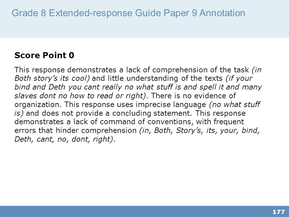 Grade 8 Extended-response Guide Paper 9 Annotation