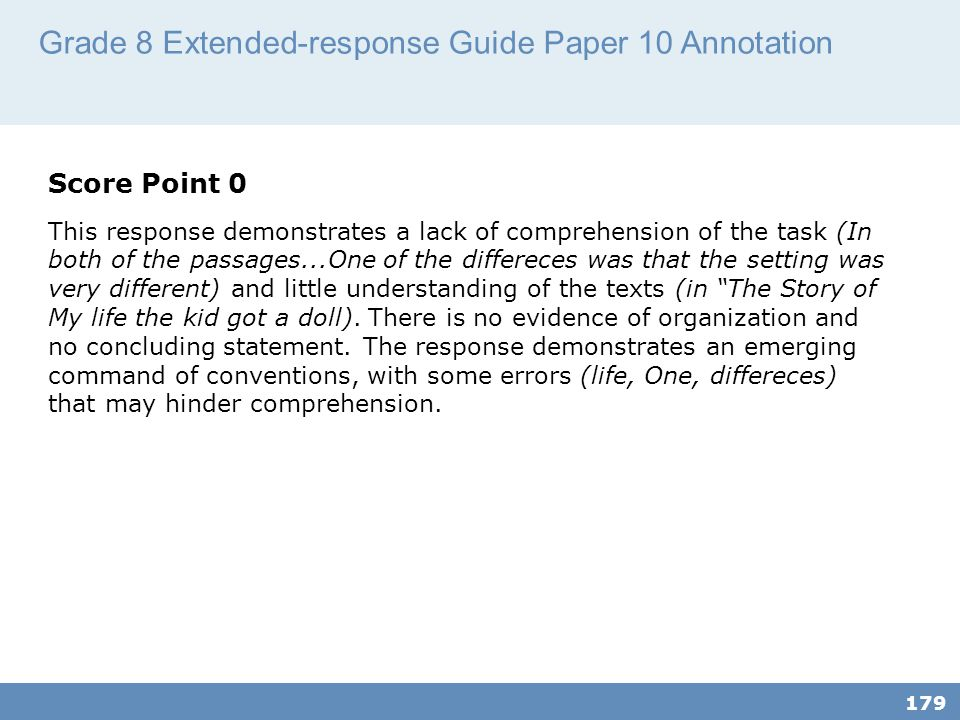Grade 8 Extended-response Guide Paper 10 Annotation