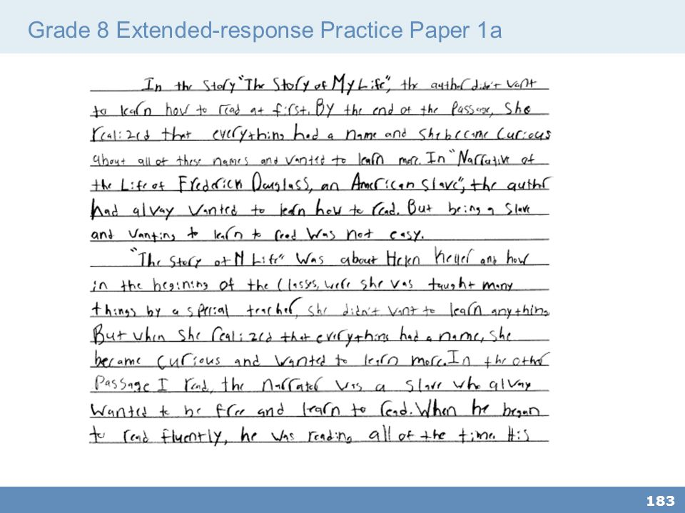Grade 8 Extended-response Practice Paper 1a