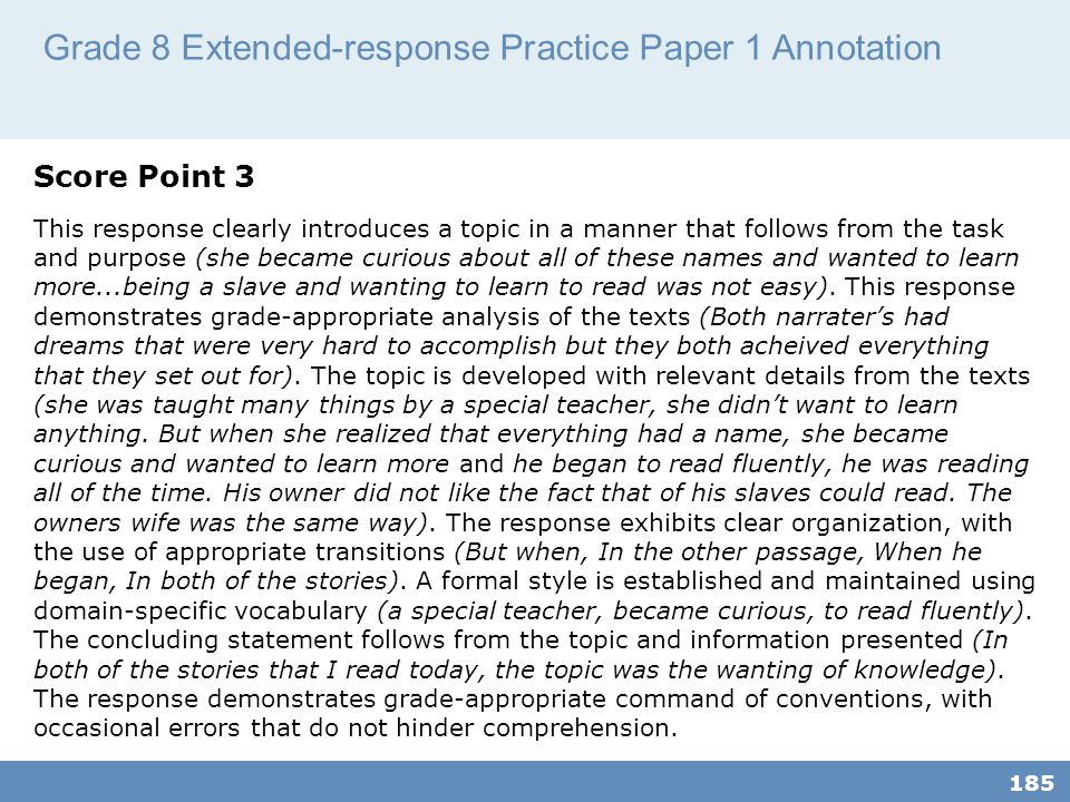 Grade 8 Extended-response Practice Paper 1 Annotation