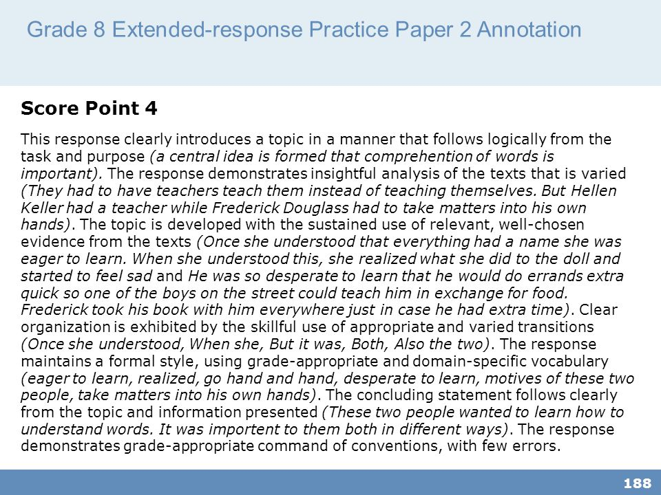 Grade 8 Extended-response Practice Paper 2 Annotation