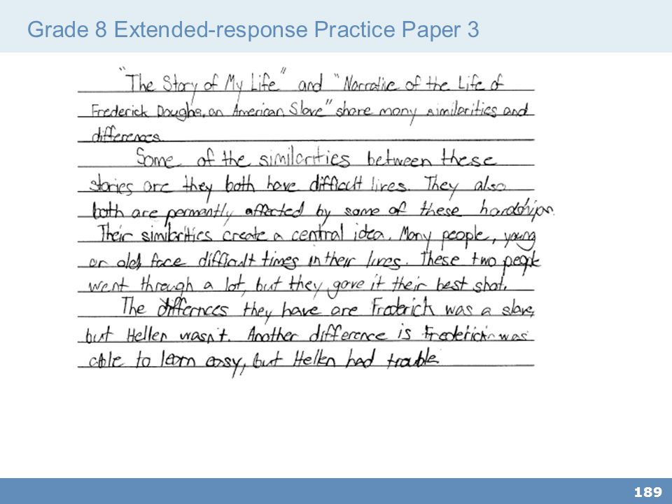 Grade 8 Extended-response Practice Paper 3