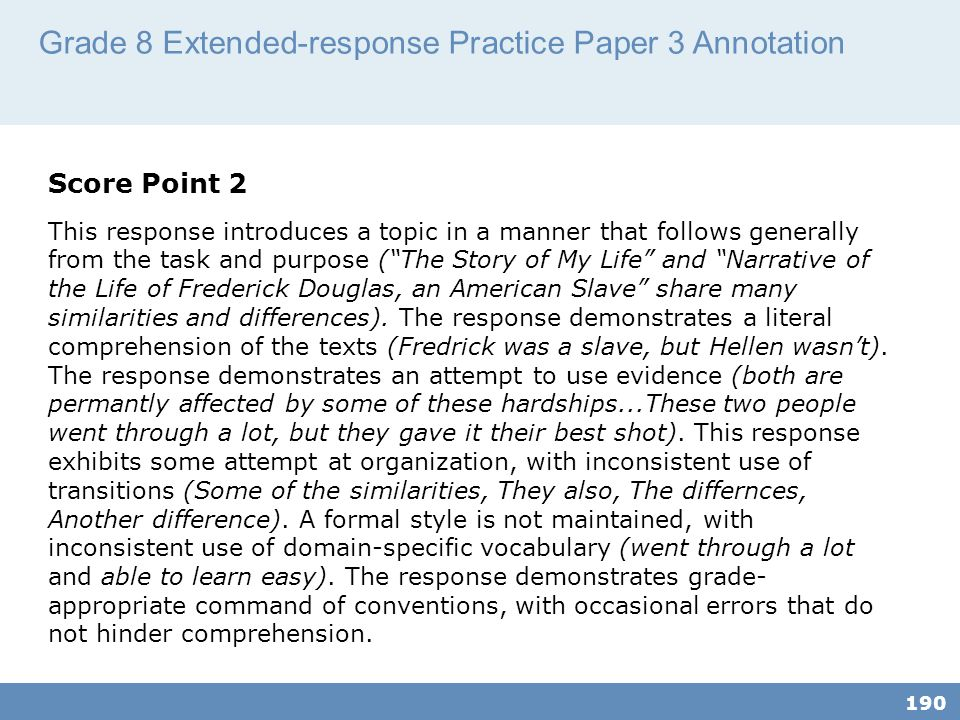 Grade 8 Extended-response Practice Paper 3 Annotation