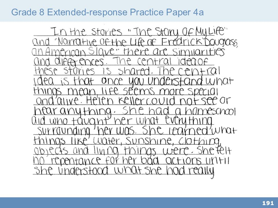 Grade 8 Extended-response Practice Paper 4a