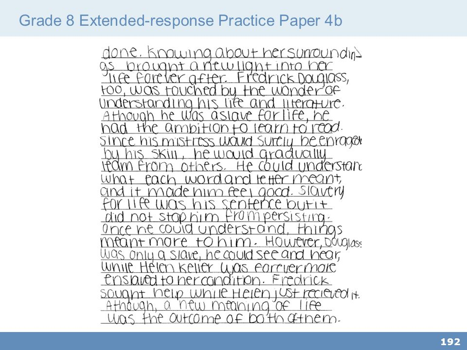 Grade 8 Extended-response Practice Paper 4b