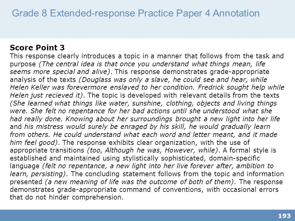 Grade 8 Extended-response Practice Paper 4 Annotation