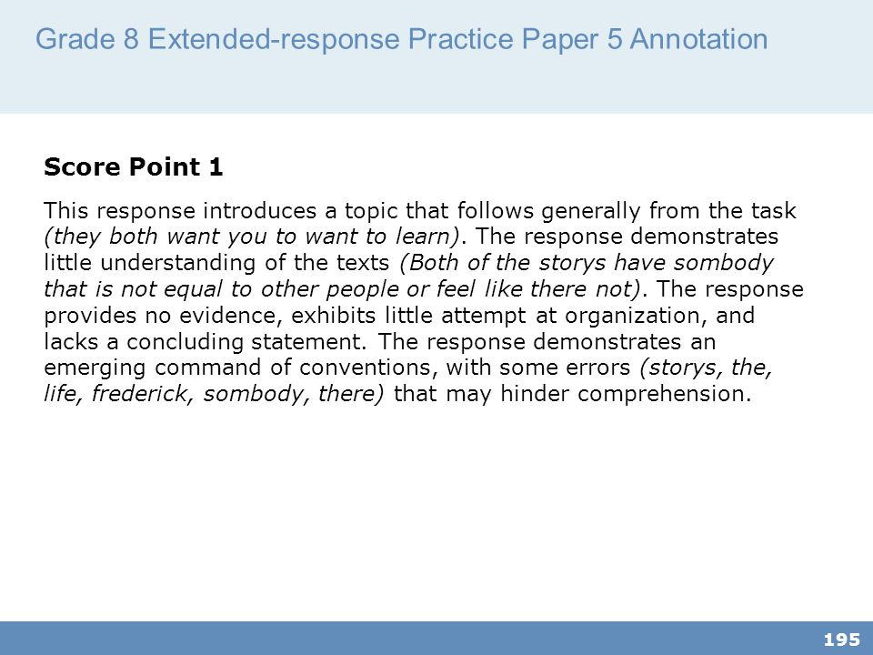 Grade 8 Extended-response Practice Paper 5 Annotation