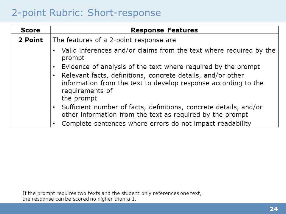 2-point Rubric: Short-response