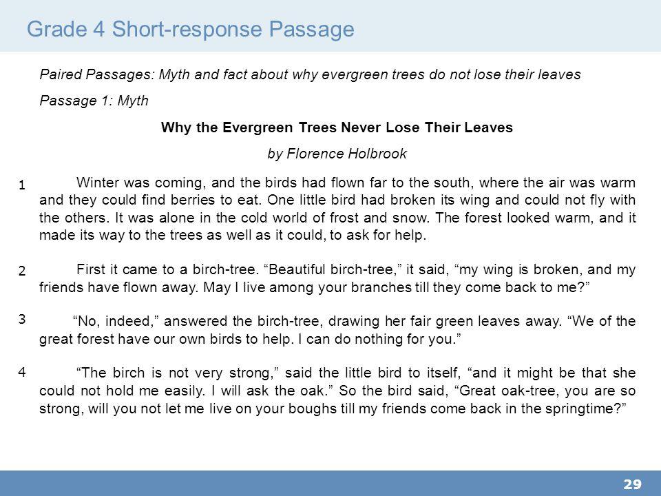 Grade 4 Short-response Passage