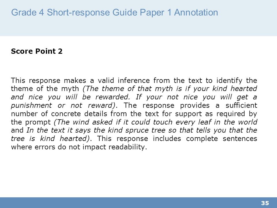 Grade 4 Short-response Guide Paper 1 Annotation