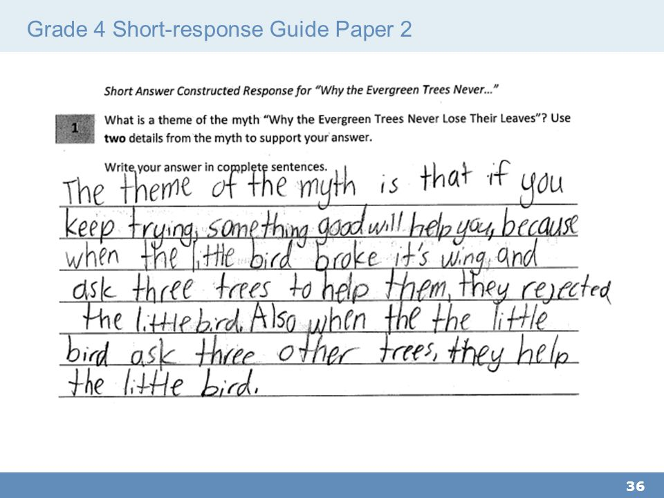 Grade 4 Short-response Guide Paper 2