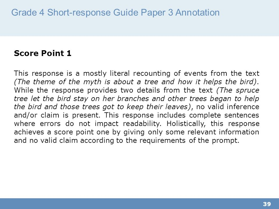 Grade 4 Short-response Guide Paper 3 Annotation