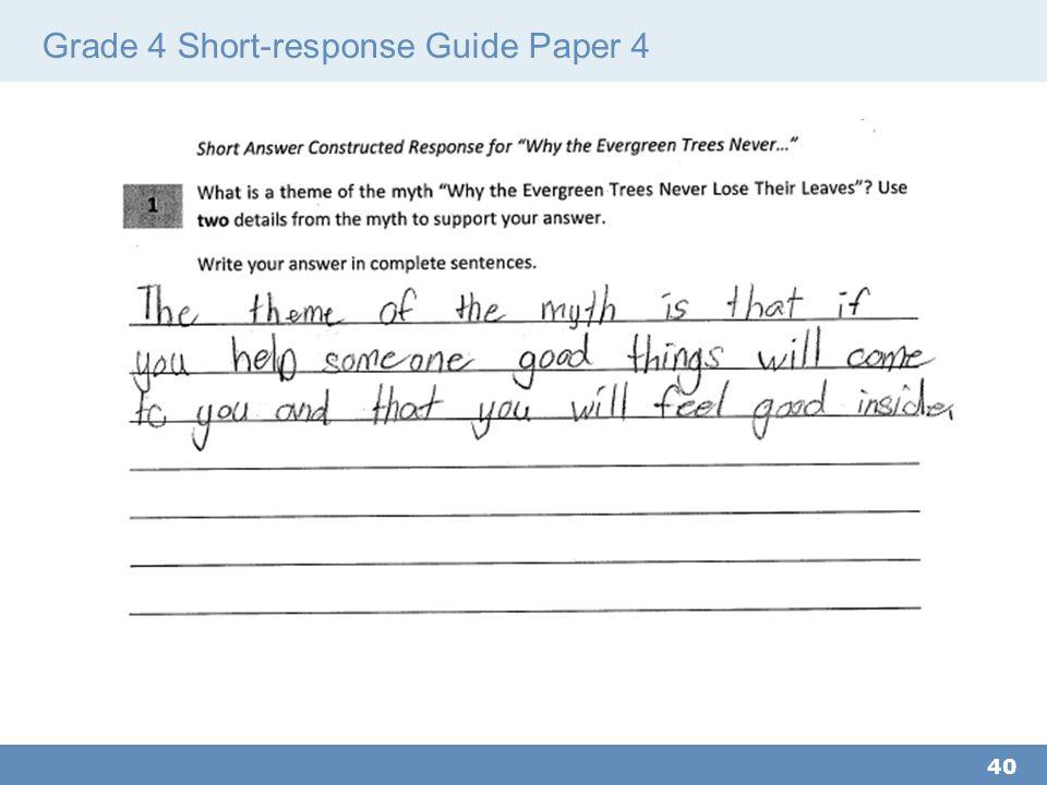 Grade 4 Short-response Guide Paper 4