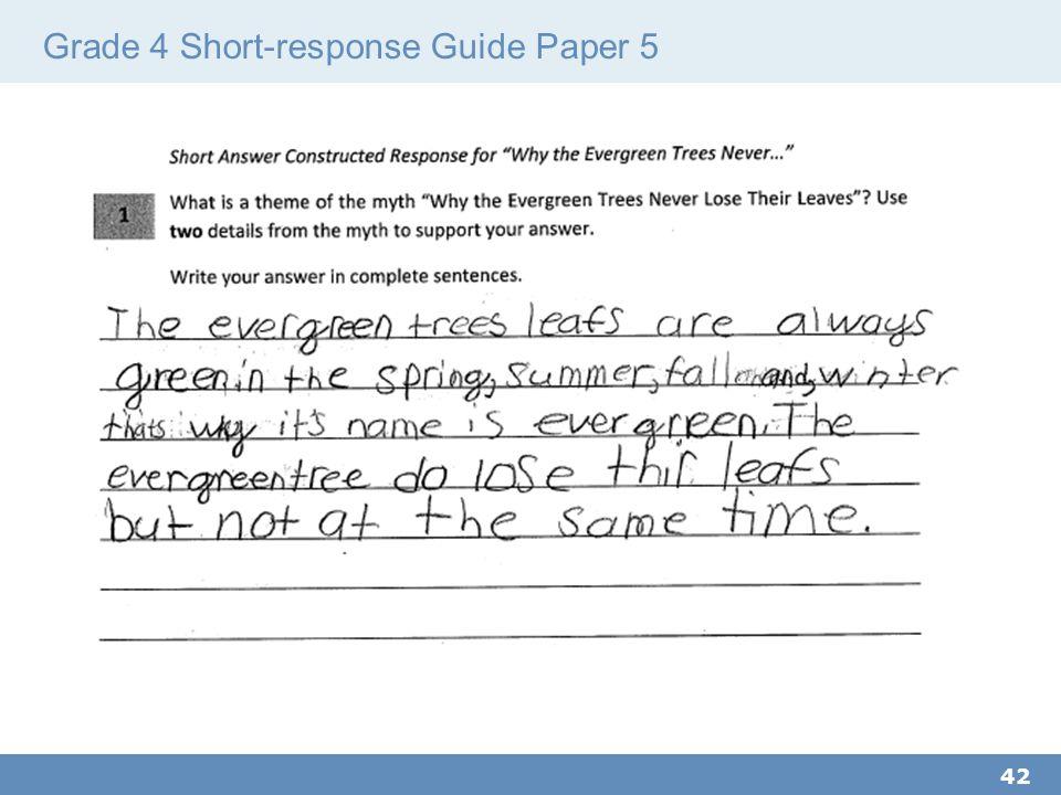 Grade 4 Short-response Guide Paper 5