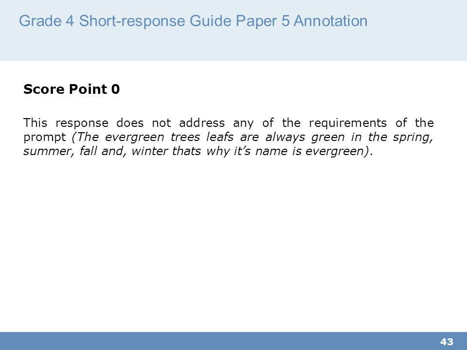Grade 4 Short-response Guide Paper 5 Annotation