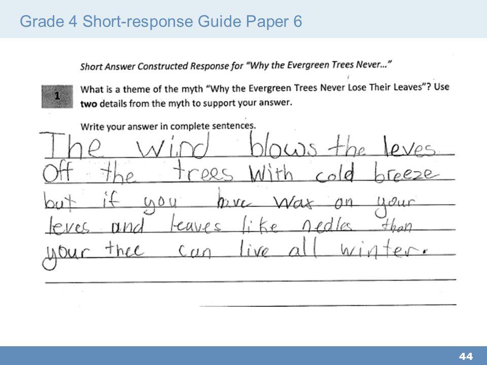 Grade 4 Short-response Guide Paper 6