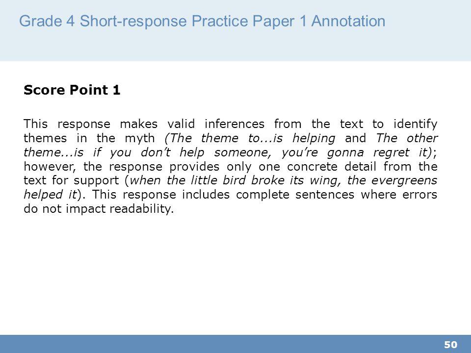 Grade 4 Short-response Practice Paper 1 Annotation