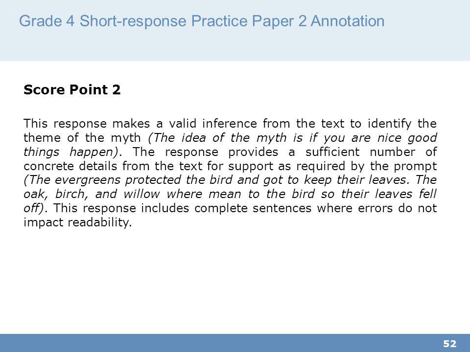 Grade 4 Short-response Practice Paper 2 Annotation