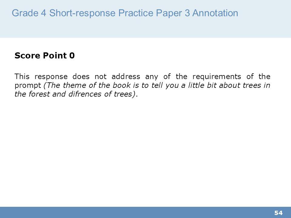 Grade 4 Short-response Practice Paper 3 Annotation