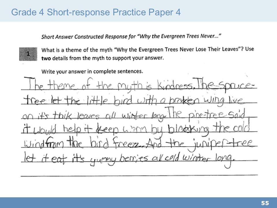 Grade 4 Short-response Practice Paper 4