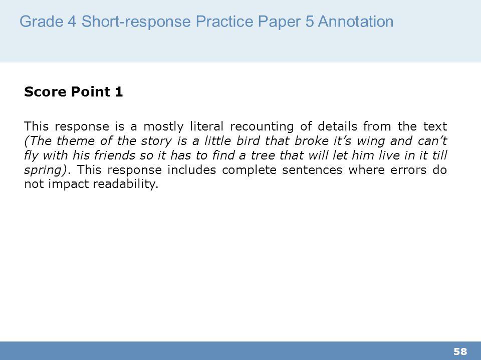 Grade 4 Short-response Practice Paper 5 Annotation