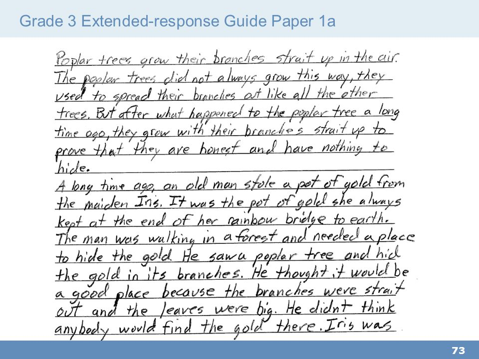 Grade 3 Extended-response Guide Paper 1a