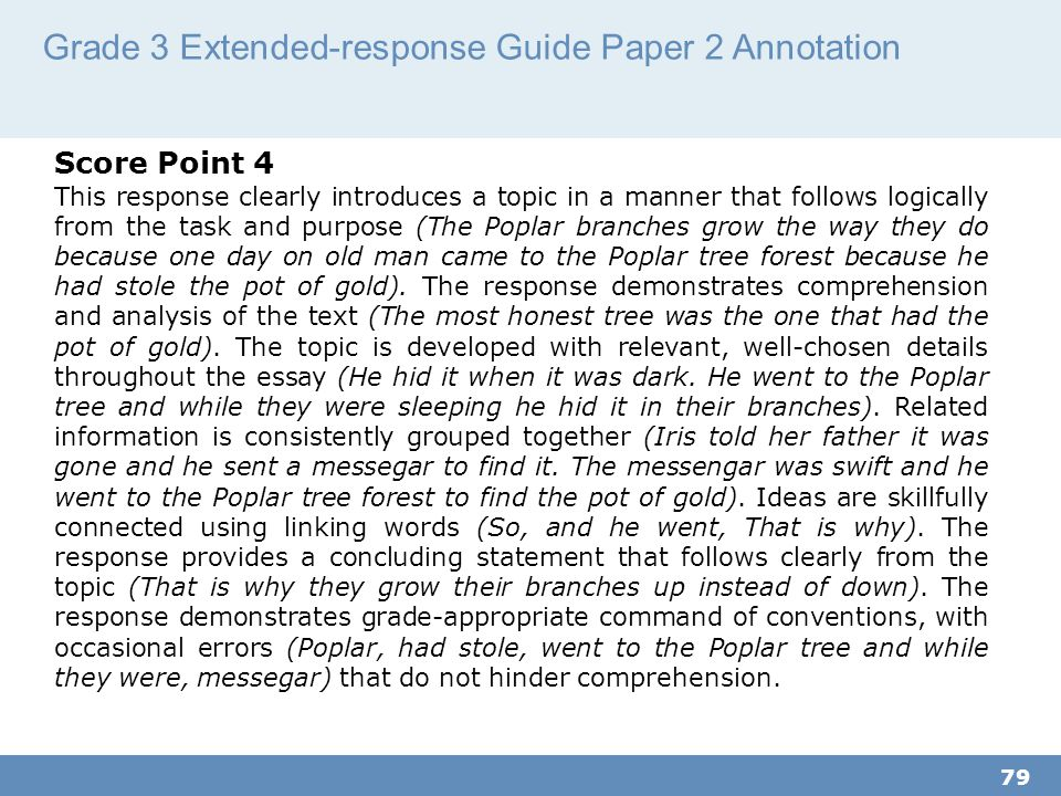 Grade 3 Extended-response Guide Paper 2 Annotation