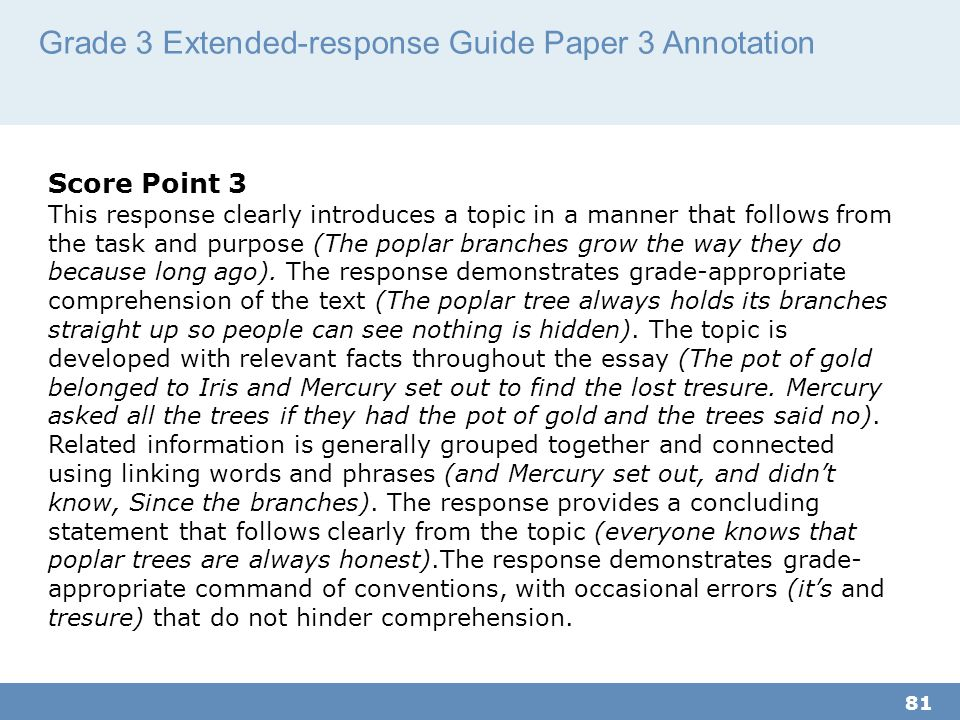 Grade 3 Extended-response Guide Paper 3 Annotation