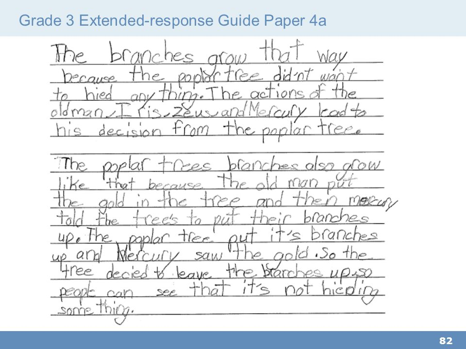Grade 3 Extended-response Guide Paper 4a