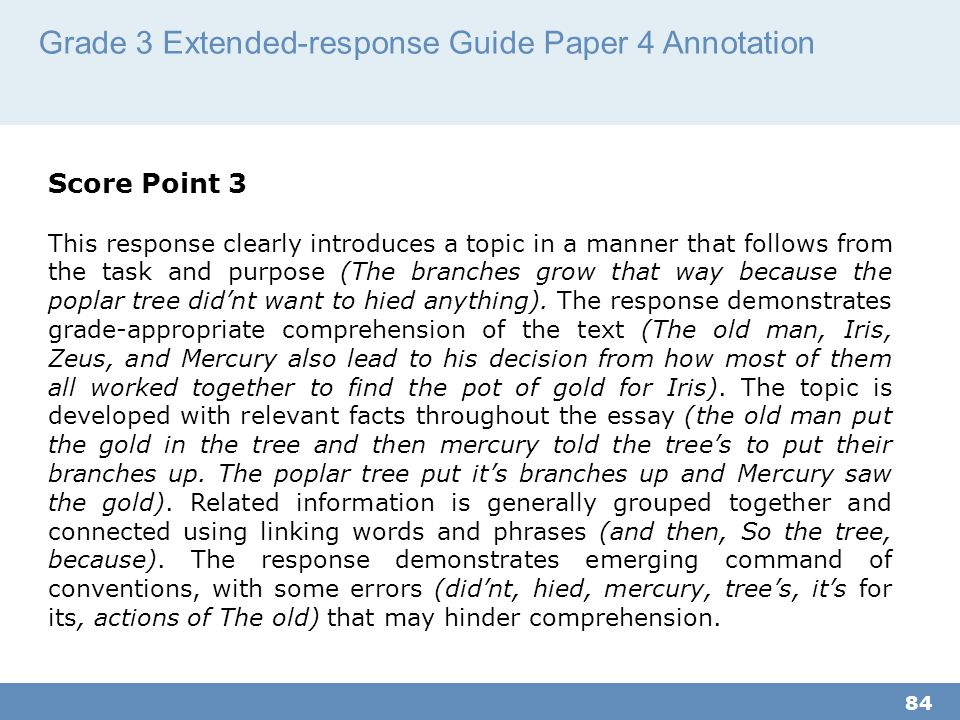 Grade 3 Extended-response Guide Paper 4 Annotation