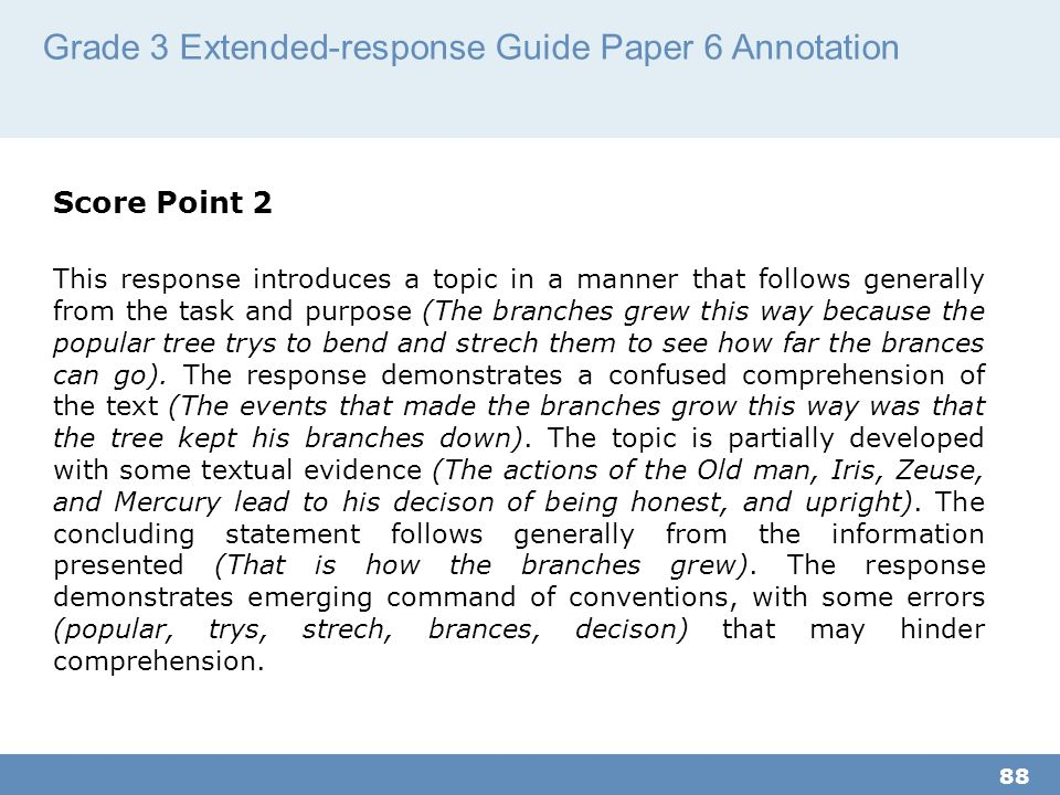 Grade 3 Extended-response Guide Paper 6 Annotation