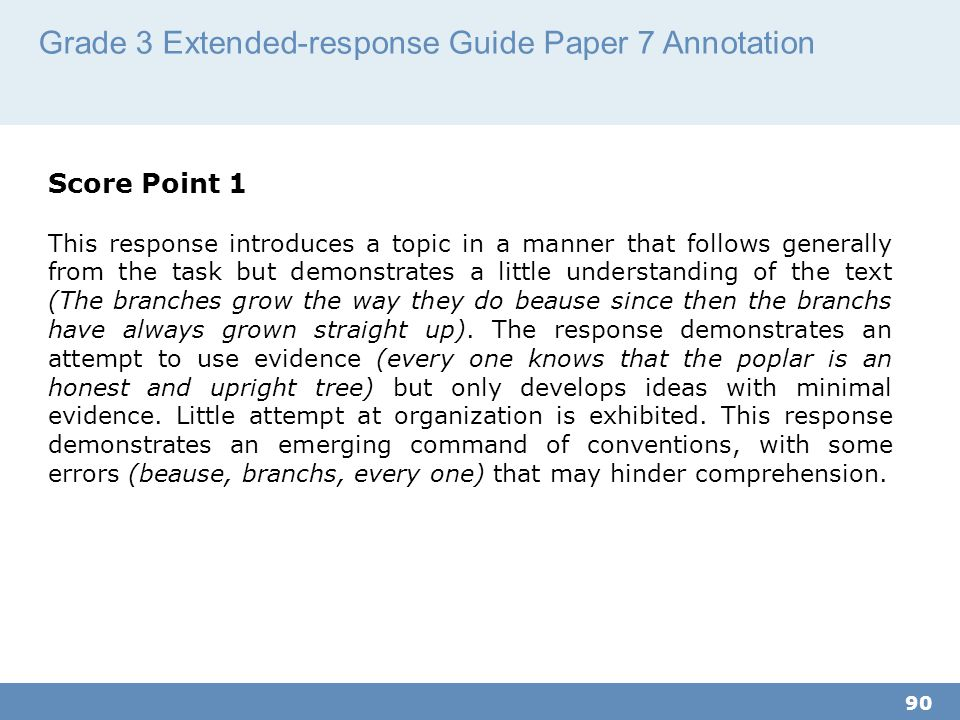 Grade 3 Extended-response Guide Paper 7 Annotation
