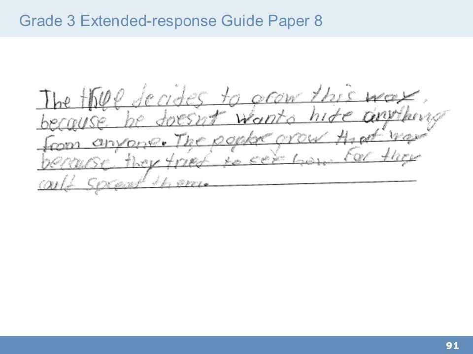 Grade 3 Extended-response Guide Paper 8