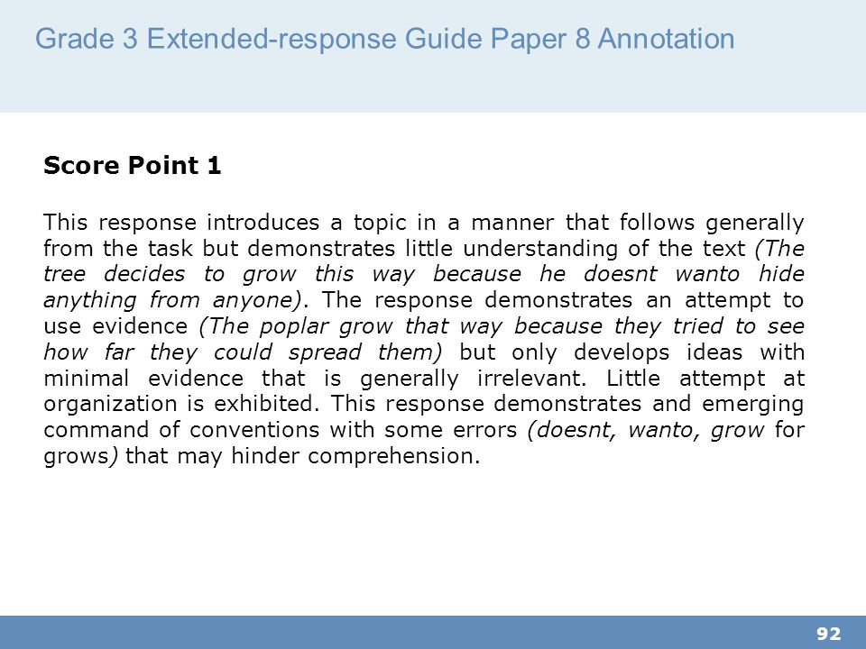 Grade 3 Extended-response Guide Paper 8 Annotation