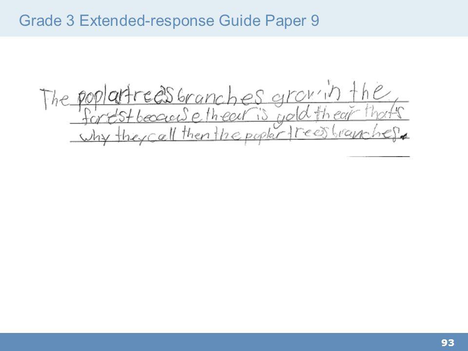 Grade 3 Extended-response Guide Paper 9